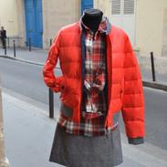 Doudoune rouge & chemise rouge à carreaux