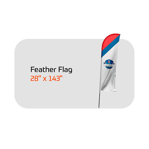 """Feather Flag FootGolf Large 28"""" X 143"""". Includes Custom Design, Po"""