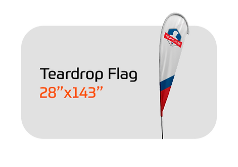 """Teardrop Flag Large 28"""" X 143"""". Includes Custom Design, Pole and Ground Stake"""