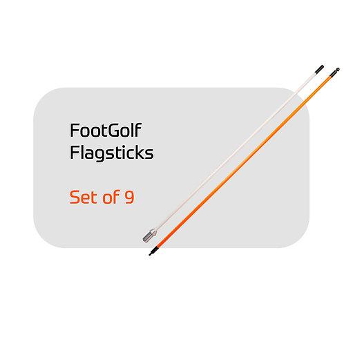 FootGolf Set of 9 -  7.5' Flagsticks - Orange and White Stripe