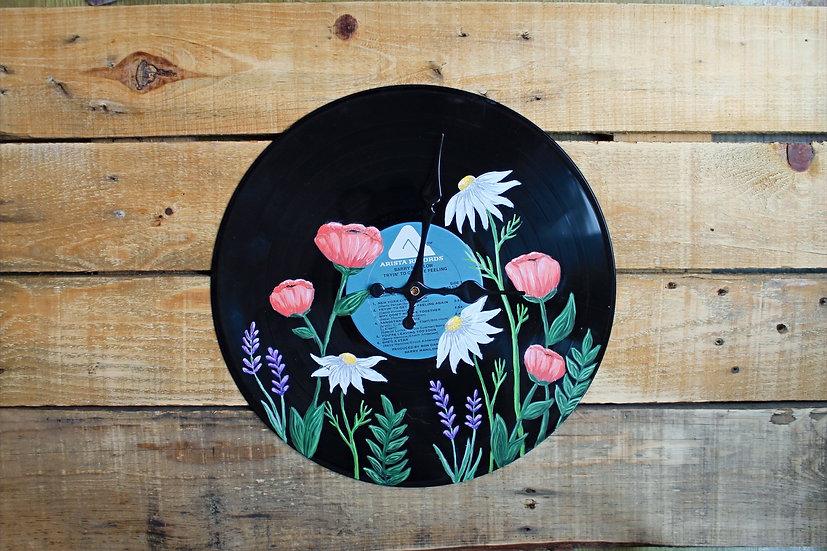 Floral Vinyl Record Clock/Wall Art