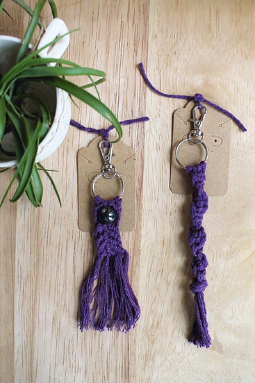 Perfect Purple Macrame Keychains