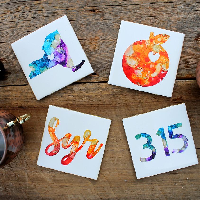 Alcohol Ink Coasters Workshop