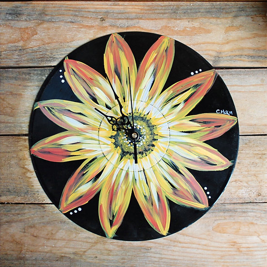 Floral Vinyl Record Clocks To Go