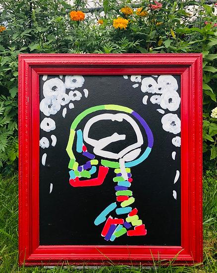 """""""Neon Skull"""" Original 20x24 Framed Painting by Sugar Moon Artistry"""
