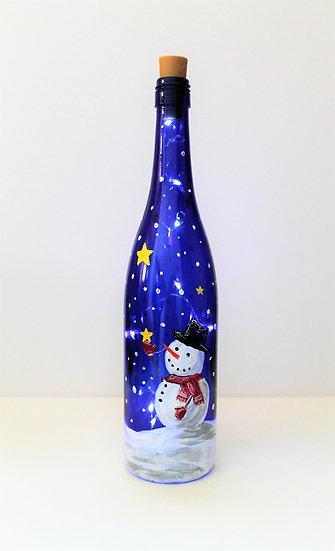 Snowman Wine Bottle Lantern To Go