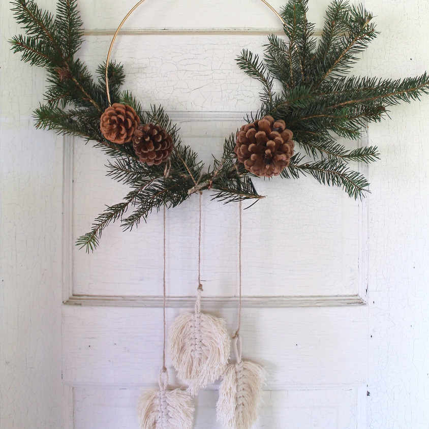 Macrame Feather & Pine Hoop Wreath Workshop