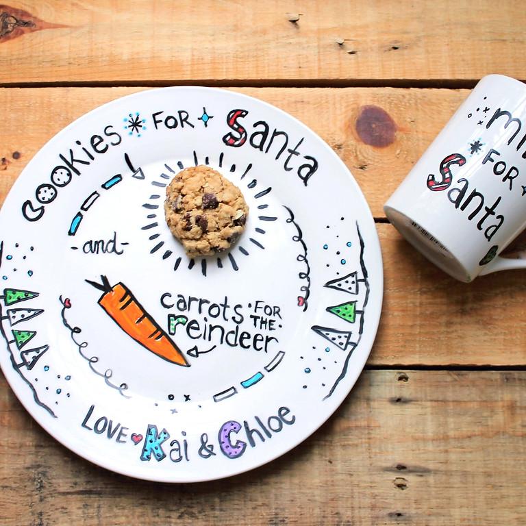 Cookie Plate & Mug for Santa Painting Workshop