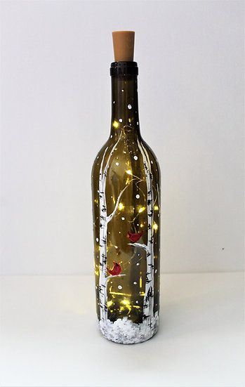 Snowy Cardinal Wine Bottle Lantern To Go
