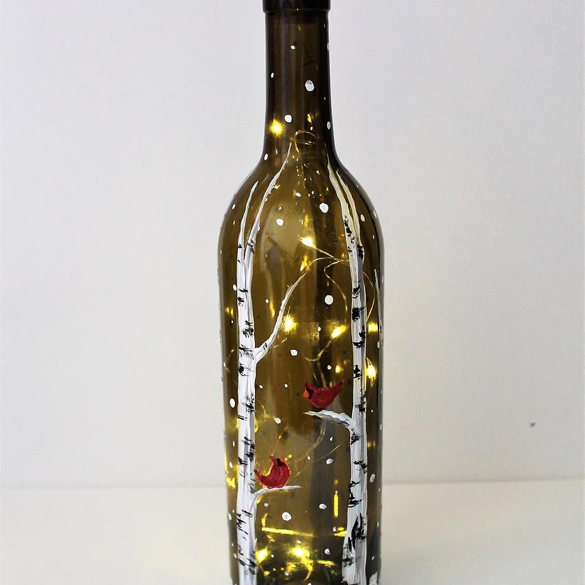 Wintery Wine Bottle Lantern Workshop