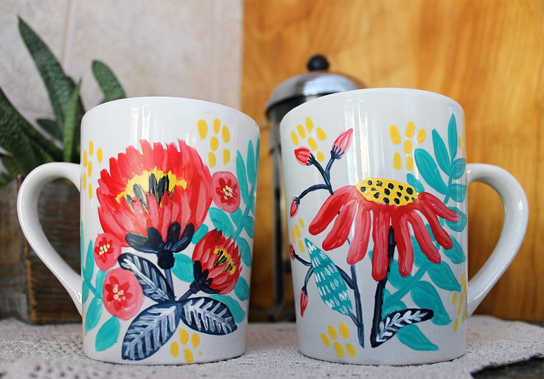 Floral Pop Painted Mug Set Kit