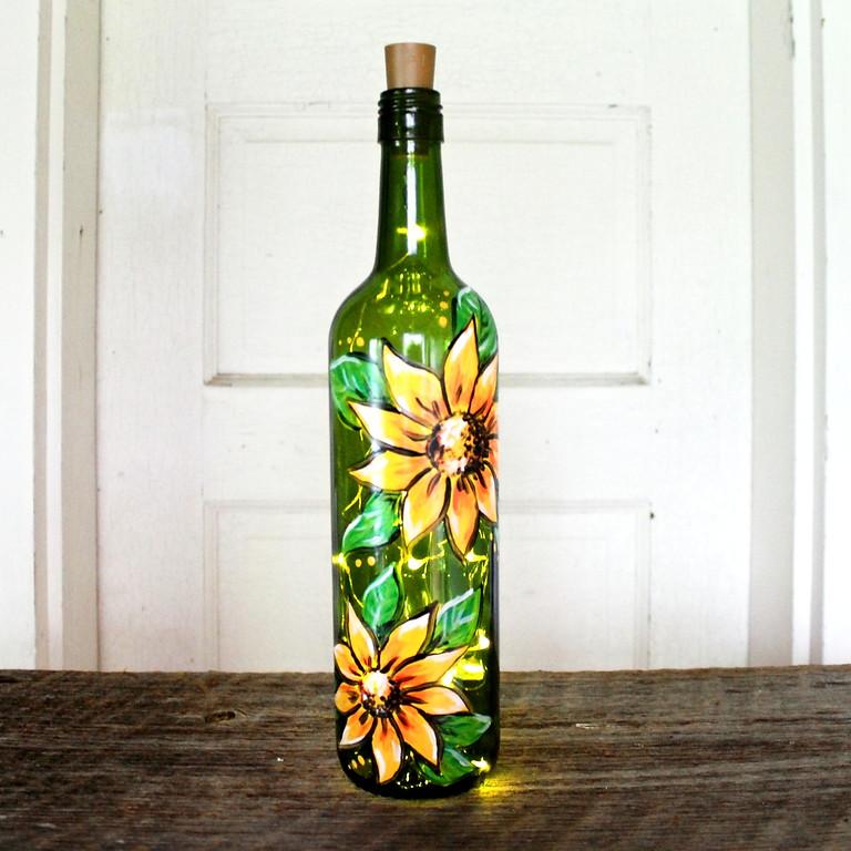Sunflower Wine Bottle Lantern Workshop