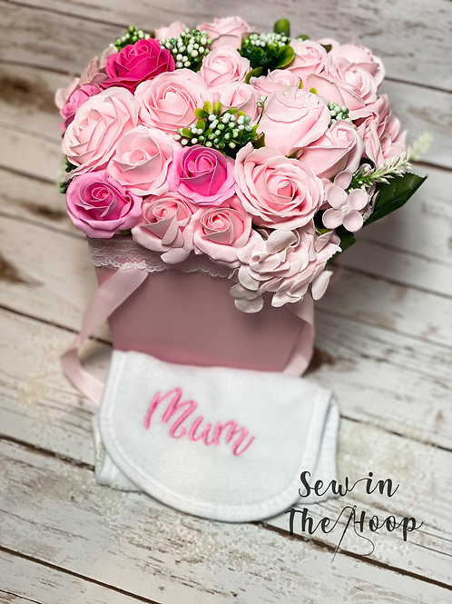 Soap Flower Pink Bouquet & Embroidered Face Cloth Set