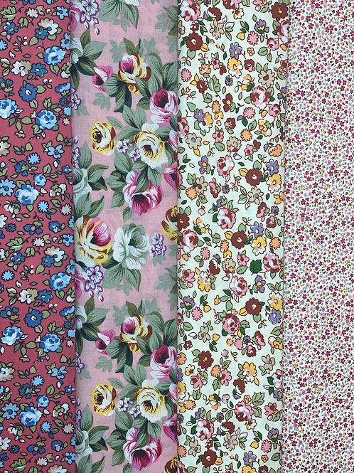 Half Metre Bundle of Floral Polycotton Fabric