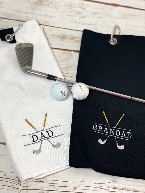 Golf Monogram Fathers Day Gift Golf Towel