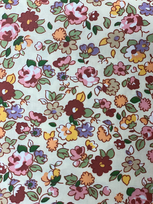Red and Yellow Floral Polycotton Fabric