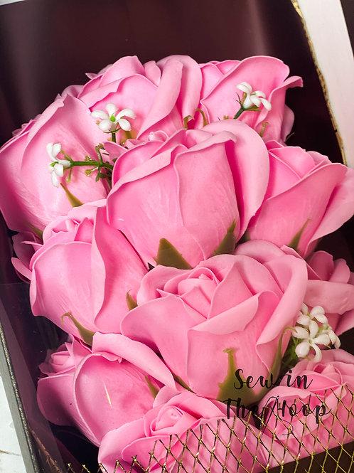 Pink soap rose bouquet