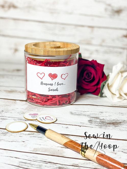 Personalised 'Reasons I Love You' Token Jar
