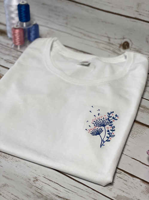 Embroidered tee t shirt top