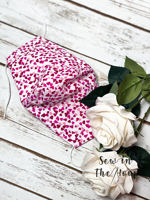 Pink Heart Mothers Day Face Covering Mask