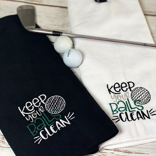 Keep Your Balls Clean Fathers Day Gift Golf Towel