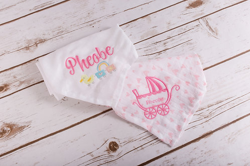 Embroidered Personalised Muslin Baby Newborn Gift