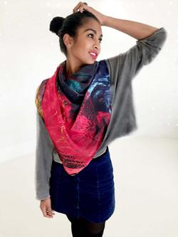 La vie aquatique silk satin scarf