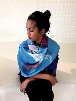 Azur silk scarf