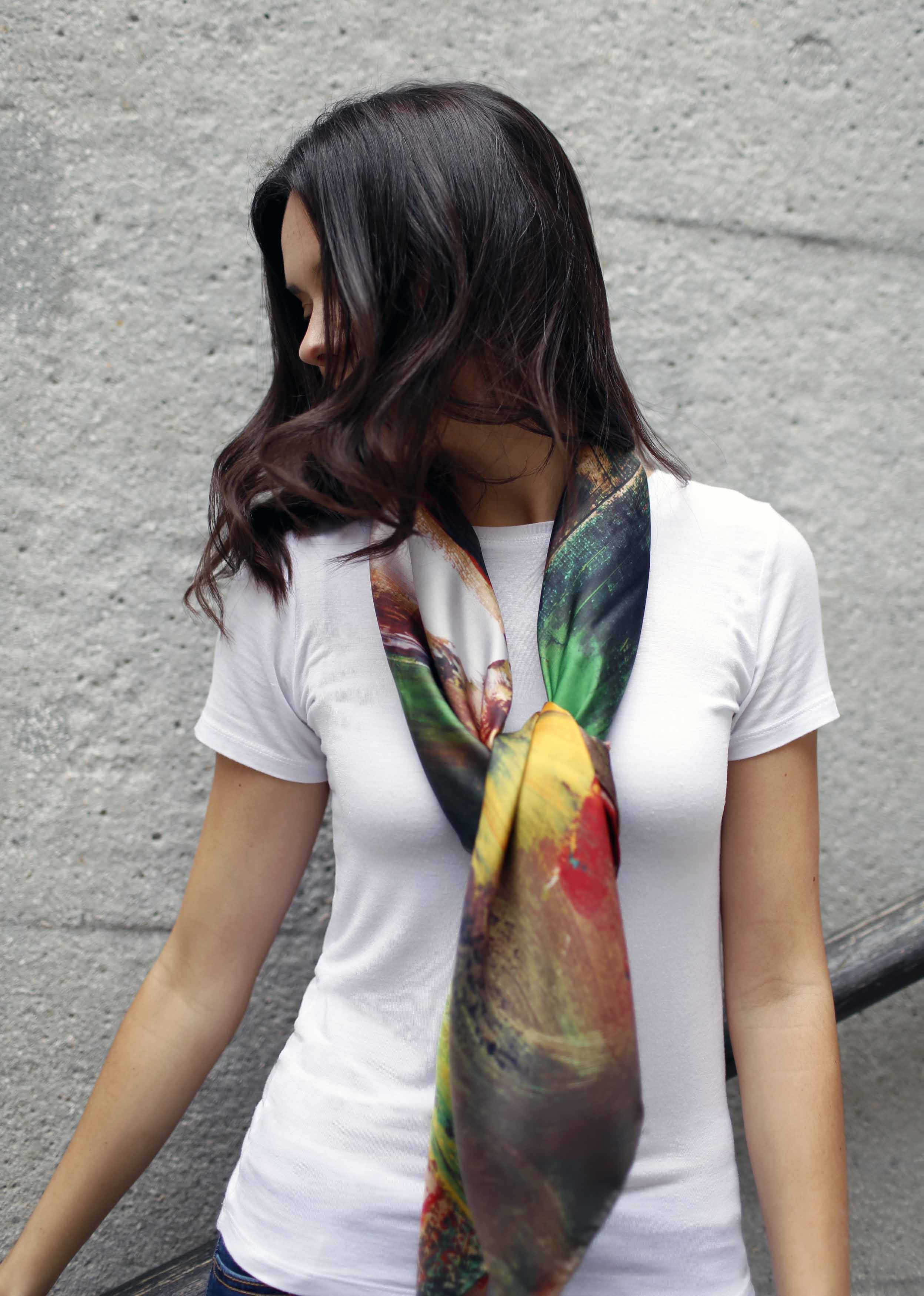 Jungle silk twill scarf