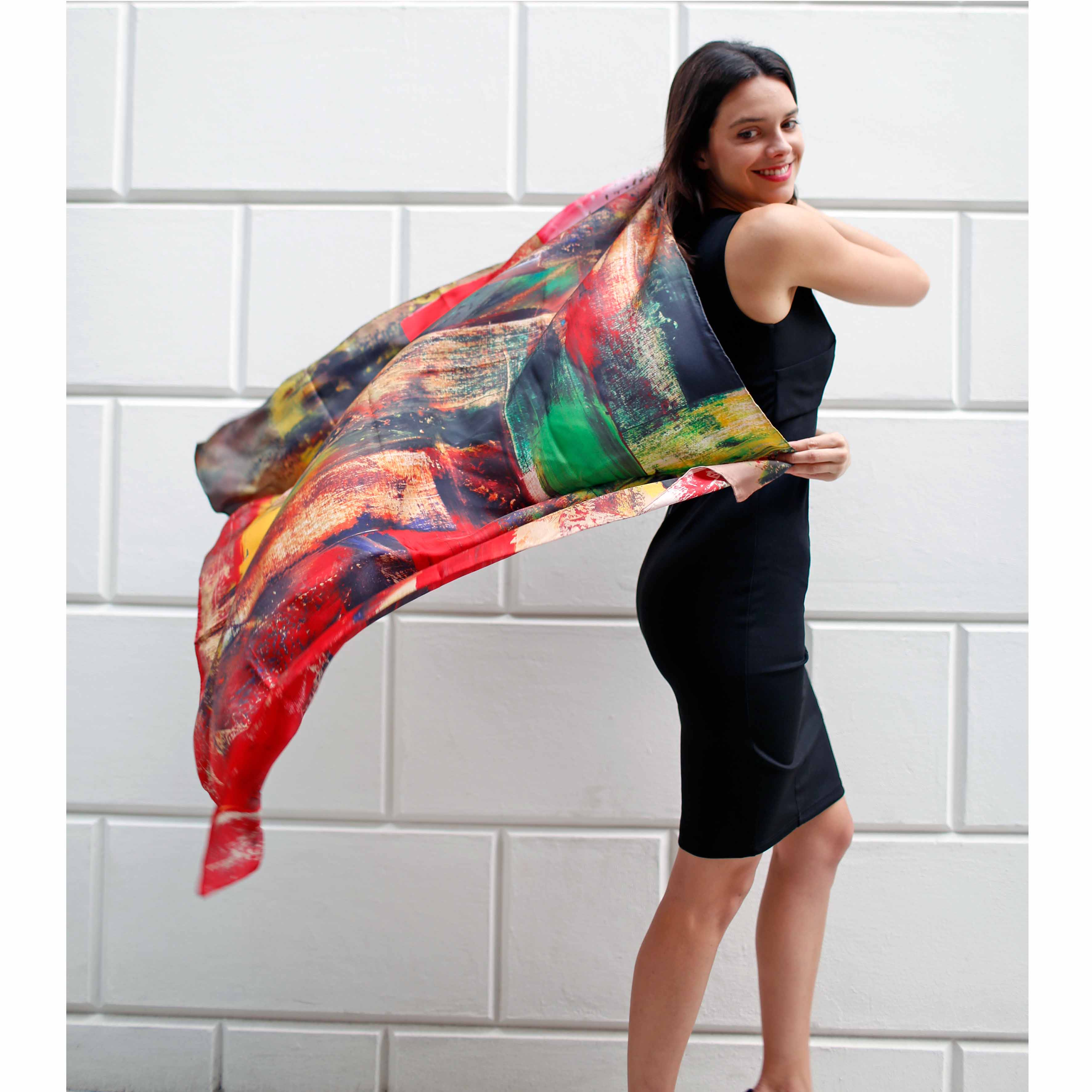 Jungle silk scarf 100x100cm