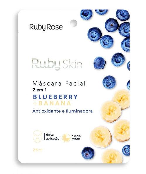 Máscara Facial de Tecido Blueberry+Banana – Antioxidante e Iluminadora