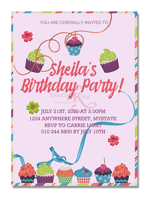 Cupcakes Birthday Invitation Card Printable