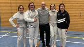 Die DFCD Damenflorettmannschaft in der dritten Runde des Deutschland Pokals