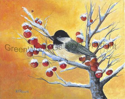 Chickadee with Berries