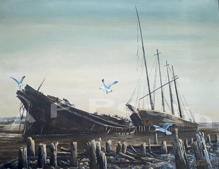 Wiscasset Ships with Gulls