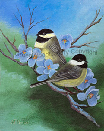 Chickadees with Blue Blossoms