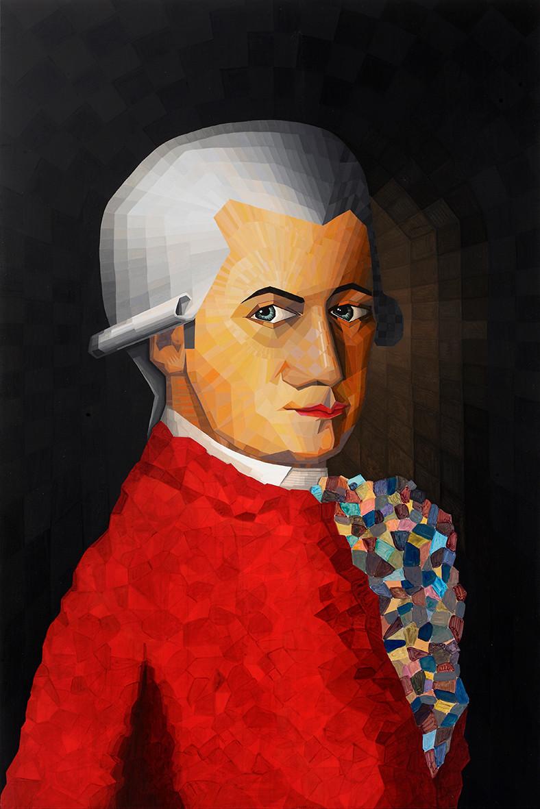 """Quadro intitulado """"Por Amor"""", retrato de Mozart"""
