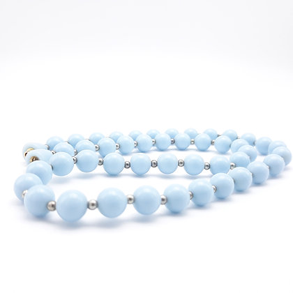 Vintage Baby Blue and Silver Pearls