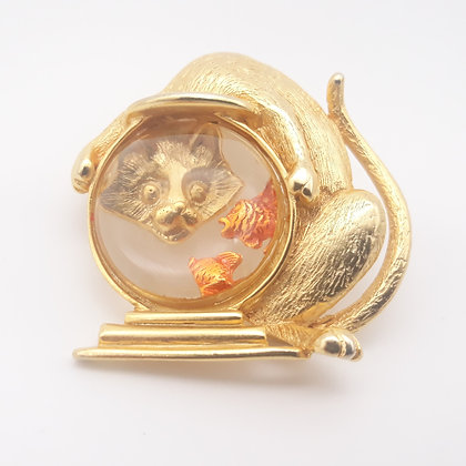 Cat and Fish Bowl Jelly Belly Brooch
