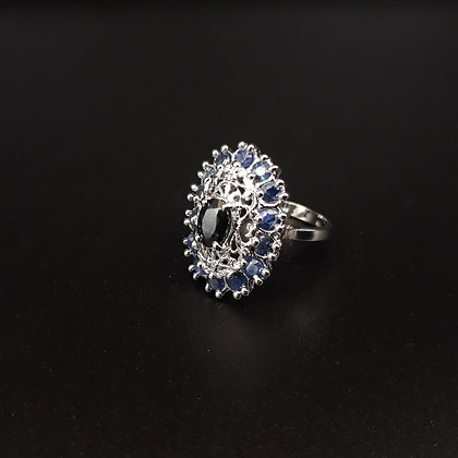 Blue Sapphire & Sterling Silver Ring