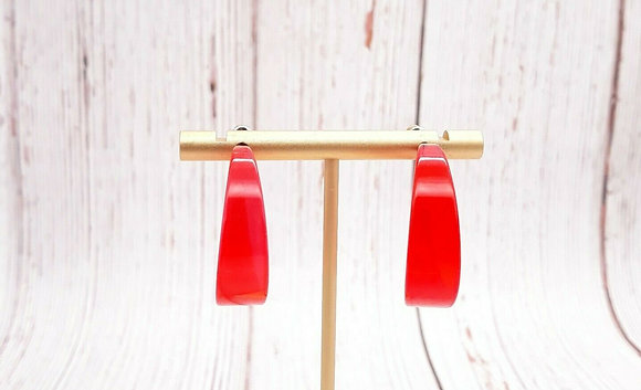 Retro Red Lucite Earrings