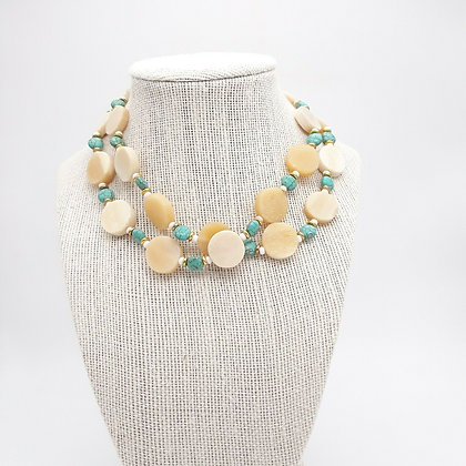 Horn and Turquoise Bead Necklace