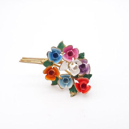 Vintage Floral Bouquet Pin