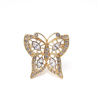 Vintage Butterfly Rhinestone Brooch