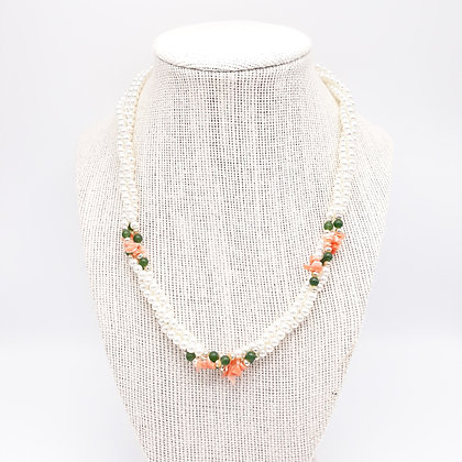 Vintage Pearl and Coral Chips Necklace