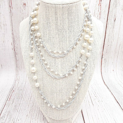 Sarah Coventry Pearl & Silver Tone Chain Necklace