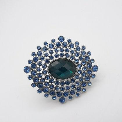 Monet Sapphire Rhinestone Brooch