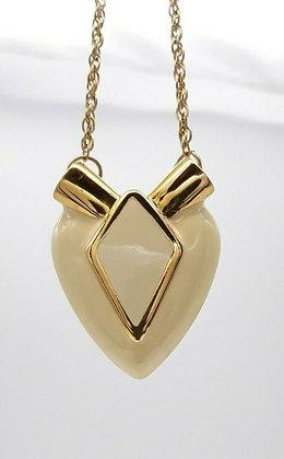 Vintage Cream Enamel Heart Pendant