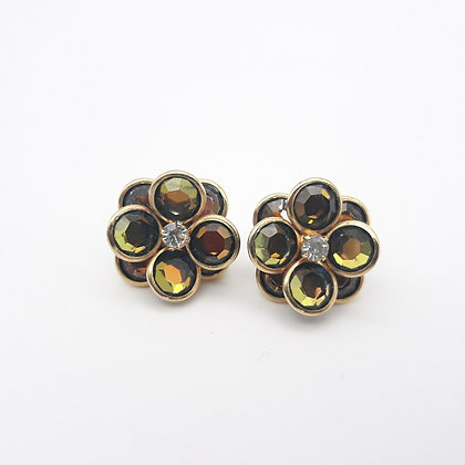 Retro Aurora Borealis Rhinestone Flower Earrings