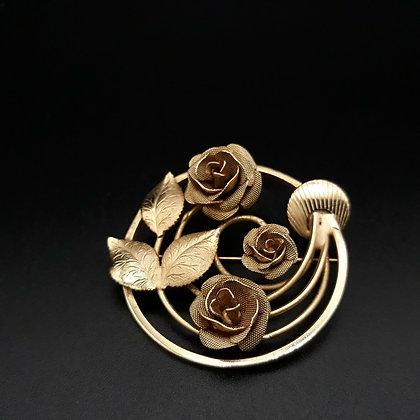 Vintage Mesh Roses Brooch